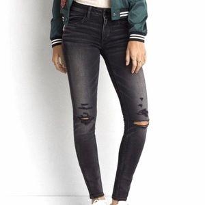 American Eagle Black Destroyed Jeggings Jeans